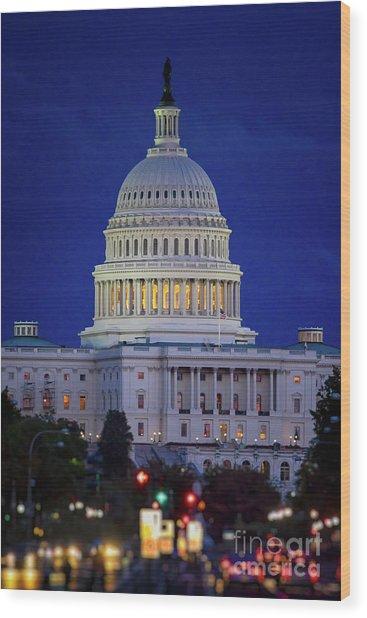 Capitol At Dusk Wood Print