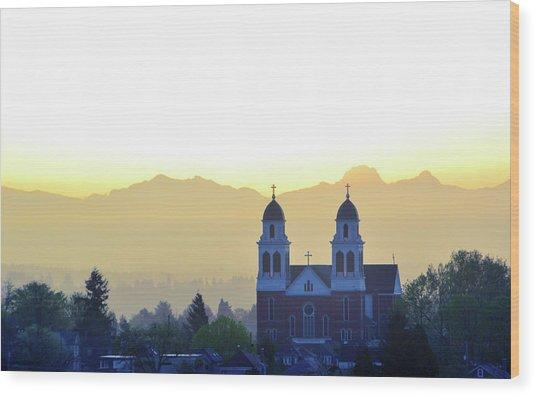 Capitol Hill Sun Up Wood Print