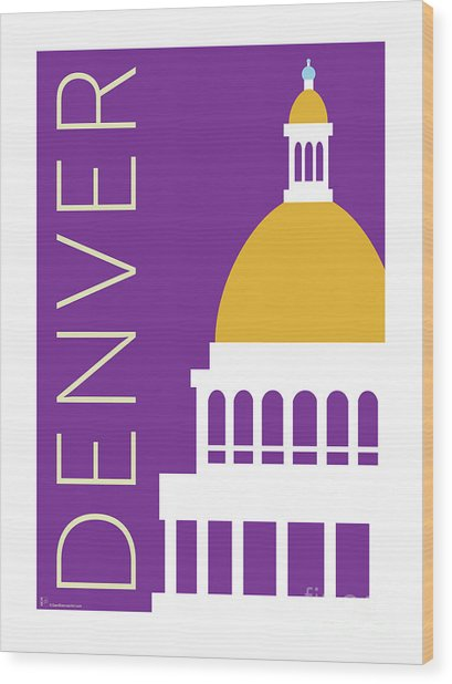 Denver Capitol/purple Wood Print