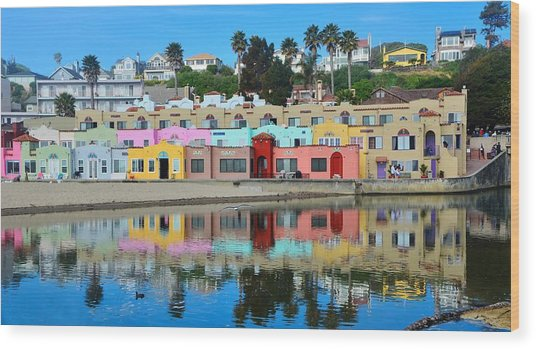 Capitola California Colorful Hotel Wood Print