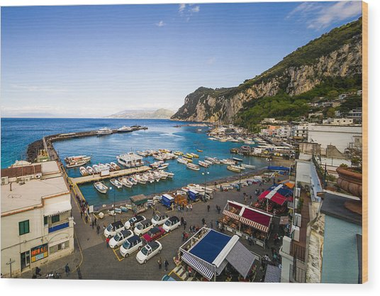 Capri Harbor Wood Print