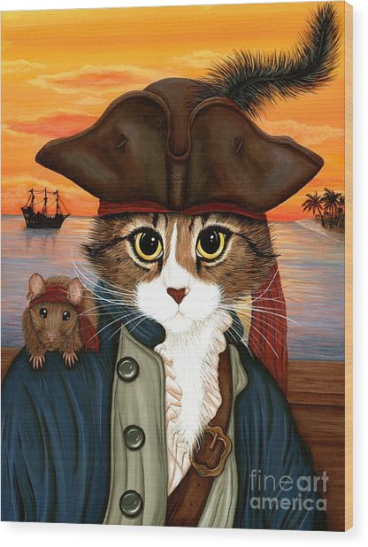 Captain Leo - Pirate Cat And Rat Wood Print