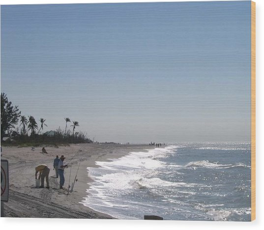 Captiva Surf Fishing Wood Print by Jack G  Brauer