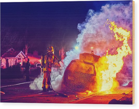Car Arson  Wood Print
