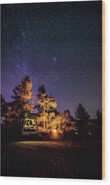 Car Camping Wood Print