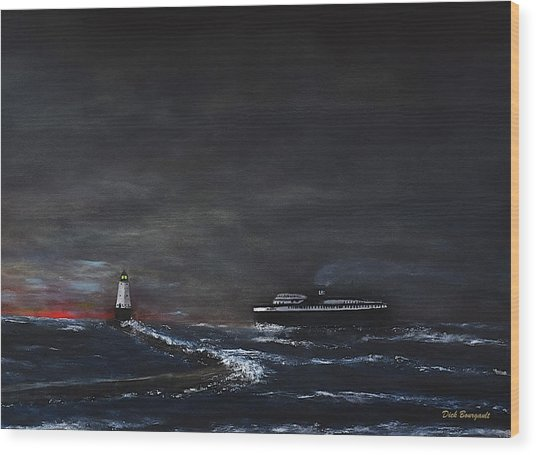 Car Ferry Badger November Crossing Wood Print