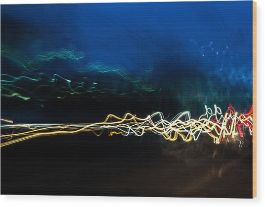 Car Light Trails At Dusk In City Wood Print