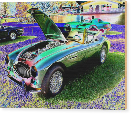 Car Show Wood Print by Peter  McIntosh