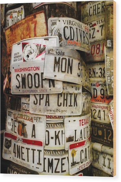Car Tags Wood Print by JAMART Photography