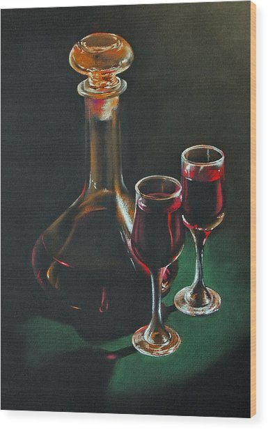 Carafe And Glasses Wood Print by Alan Stevens