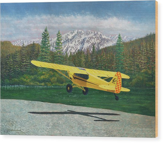 Carbon Cub Riverbank Takeoff Wood Print