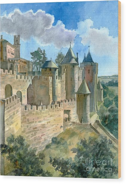 Carcassonne Wood Print by Katia Weyher