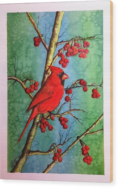 Cardinal And Berries Wood Print