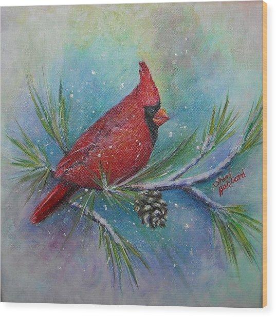 Cardinal And Delta Snow Wood Print by Sheri Hubbard
