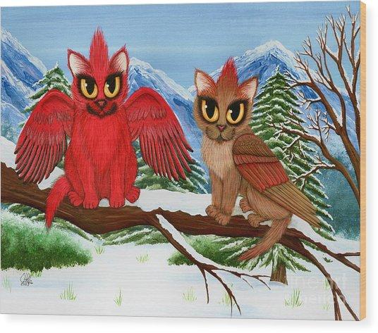 Cardinal Cats Wood Print