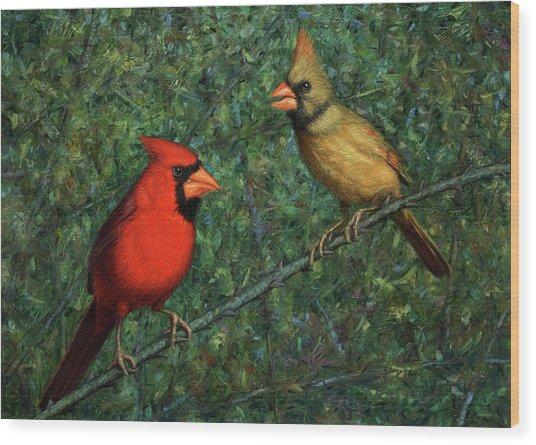 Cardinal Couple Wood Print