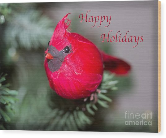 Cardinal Happy Holidays Wood Print