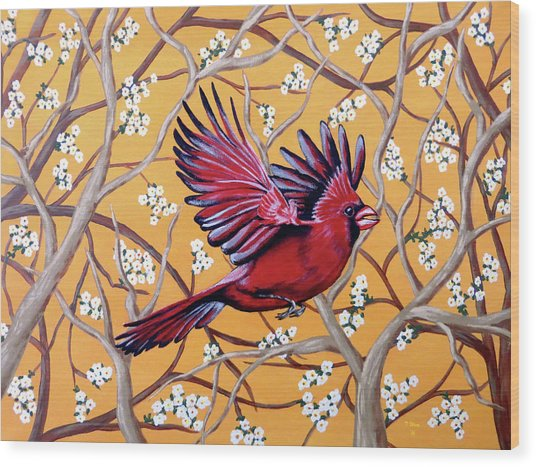 Cardinal In Flight Wood Print