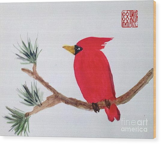 Cardinal In My Backyard Wood Print