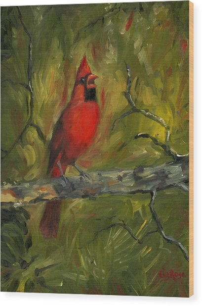 Cardinal Wood Print by Liz Rose