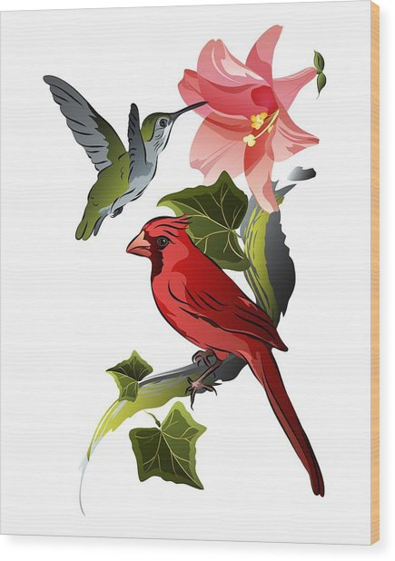 Cardinal On Ivy Branch With Hummingbird And Pink Lily Wood Print