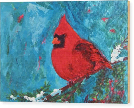 Cardinal Red Bird Watercolor Modern Art Wood Print