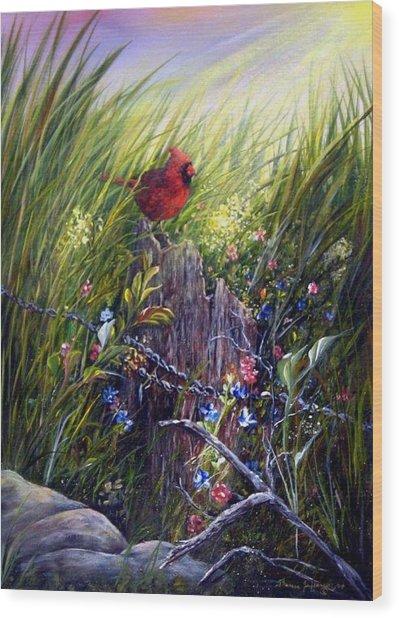 Cardinal Wood Print by Theresa Jefferson