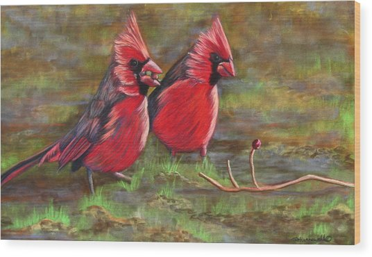 Cardinal Two Wood Print by Tracey Hunnewell