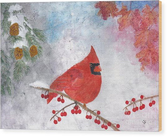Cardinal With Red Berries And Pine Cones Wood Print