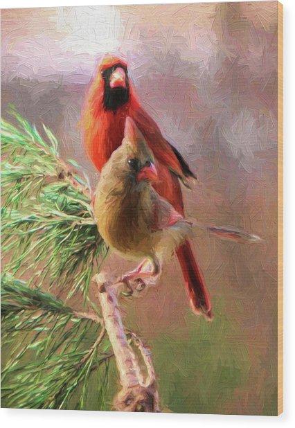 Cardinals2 Wood Print