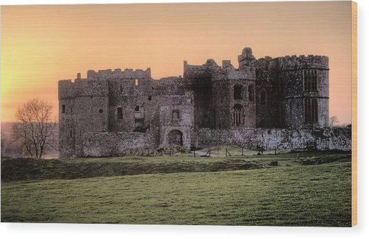 Carew Castle Coral Sunset Wood Print