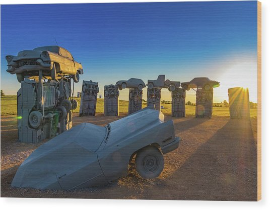 Carhenge Sunrise Wood Print by David Brown Eyes