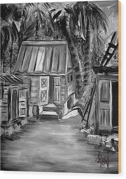 Caribbean Country House Wood Print by Laura Fatta