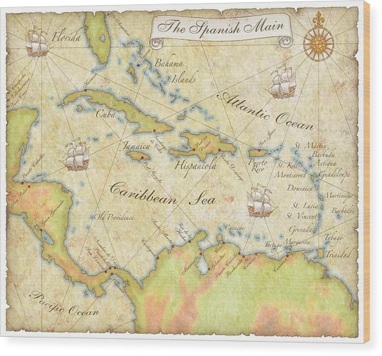 Caribbean Map - Good Wood Print