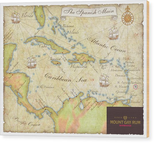 Caribbean Map II Wood Print