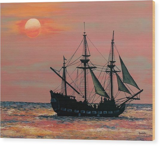 Caribbean Pirate Ship Wood Print