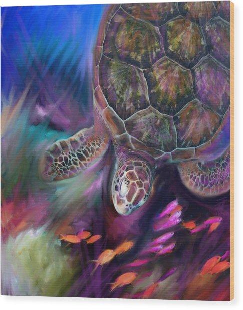 Caribbean Sea Turtle Wood Print