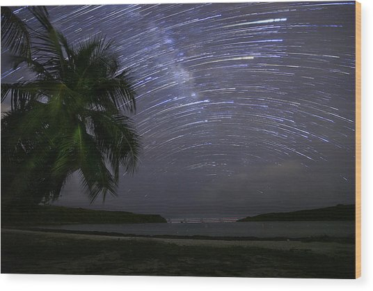 Caribbean Star Trails And Milky Way Wood Print by Karl Alexander