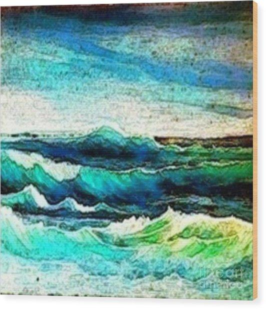 Caribbean Waves Wood Print