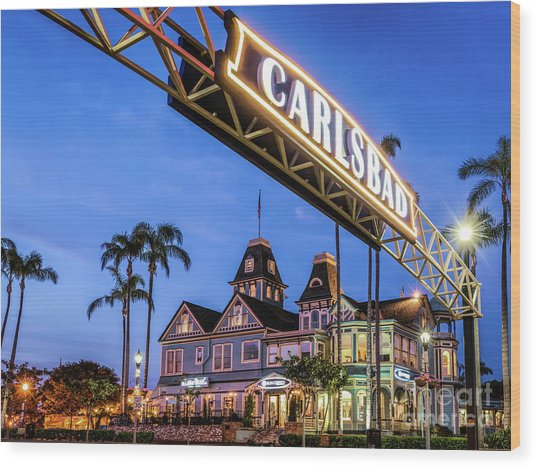 Carlsbad Welcome Sign Wood Print
