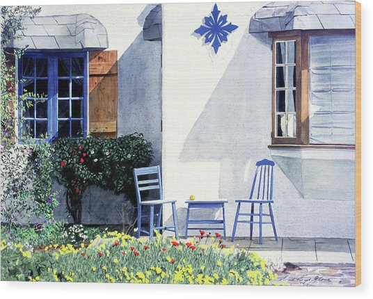 Carmel Cottage With Orange Wood Print by David Lloyd Glover