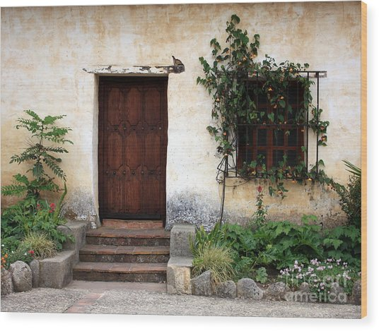 Carmel Mission Door Wood Print
