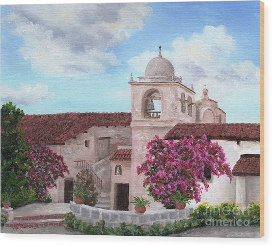 Carmel Mission In Spring Wood Print
