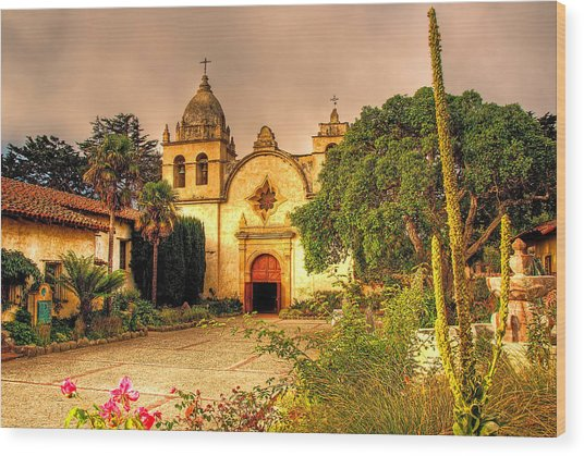 Carmel Mission Wood Print