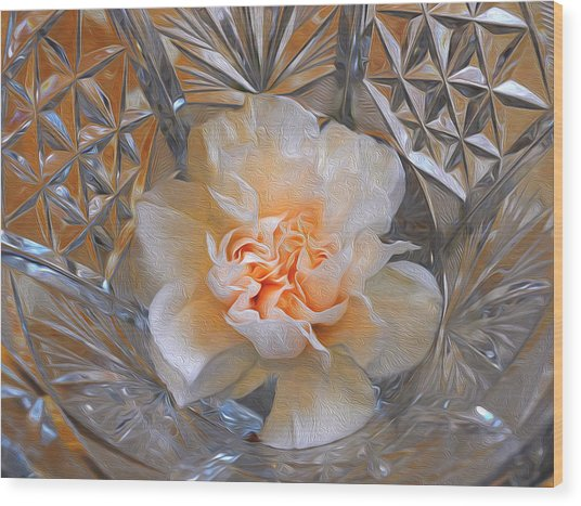 Carnation In Cut Glass 7 Wood Print