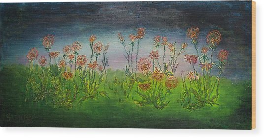 Carnations At Dusk Wood Print by Jacob Stempky