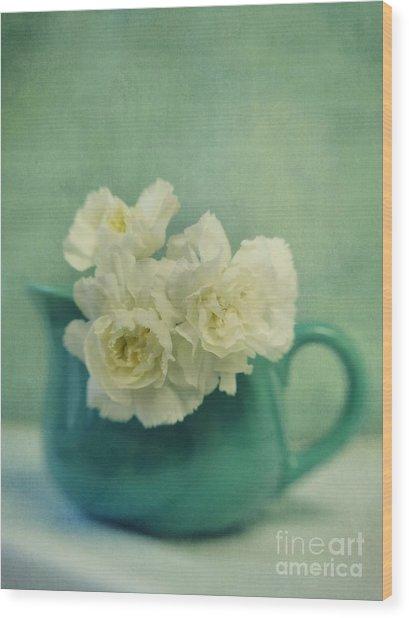 Carnations In A Jar Wood Print