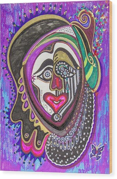 Carnival Face Wood Print