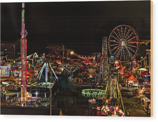 Carnival Midway Wood Print