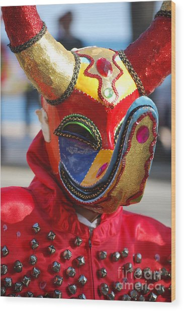 Carnival Red Duck Portrait Wood Print